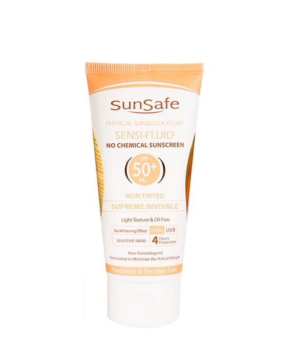 فلوئید ضد آفتاب فاقد جاذبه های شیمیایی spf  50 سان سیف Sun Safe 50 گرم