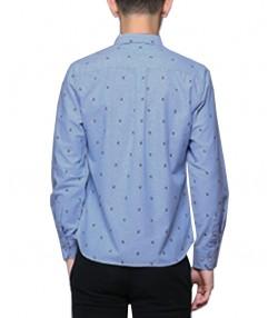پیراهن آستین بلند مردانه آبی