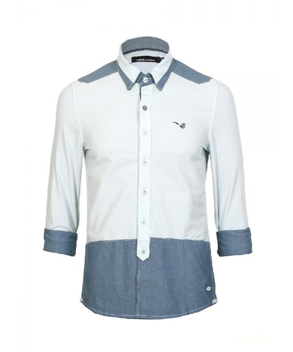 پیراهن مردانه با طرح دو رنگ و آستین بلند آبی