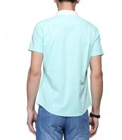 پیراهن مردانه آستین کوتاه سبز آبی