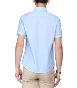 پیراهن مردانه آبی با طرح راه راه