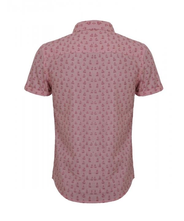 پیراهن مردانه مدل آستین کوتاه صورتی