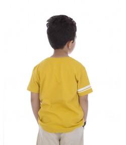 تیشرت بچه گانه با طرح کارتونی به رنگ خردلی