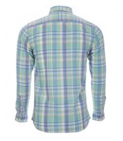 پیراهن چهارخانه نخی مردانه سبز