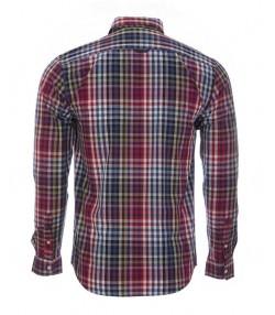 پیراهن چهارخانه نخی مردانه قرمز