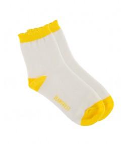 جوراب سه جفتی طوسی سفید زرد بچگانه