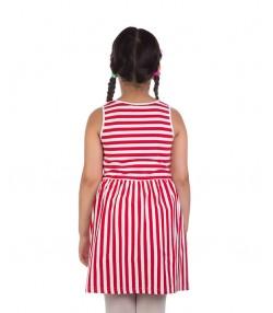 پیراهن دخترانه با طرح راه راه و آستین حلقه ای قرمز
