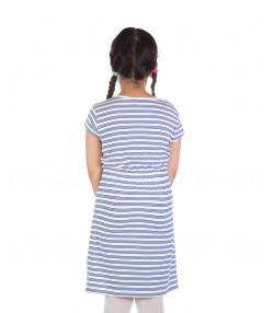 پیراهن راه راه آستین کوتاه دخترانه آبی