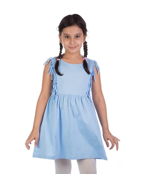 پیراهن آستین حلقه ای بچگانه آبی
