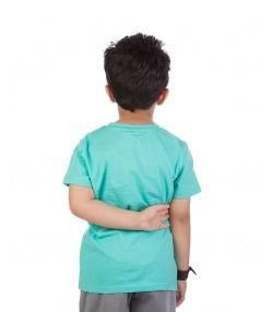 تیشرت نخی پسرانه سبز آبی