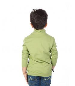 تیشرت بچه گانه مدل آستین بلند یقه ایستاده سبز