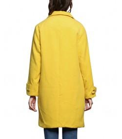 پالتو پشم زنانه زرد