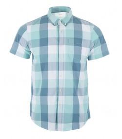 پیراهن نخی مردانه فیروزه ای روشن