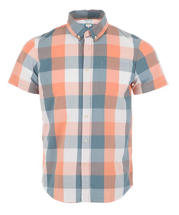 پیراهن نخی مردانه نارنجی روشن