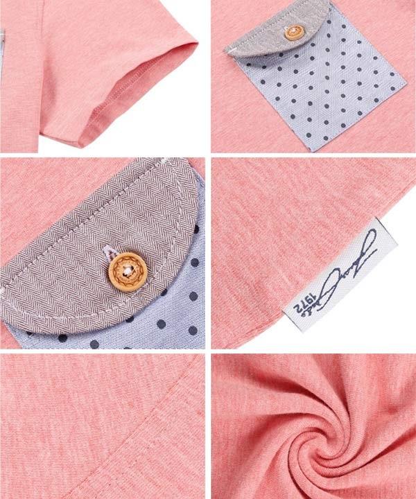 تیشرت مردانه صورتی با جیب تکه دوزی