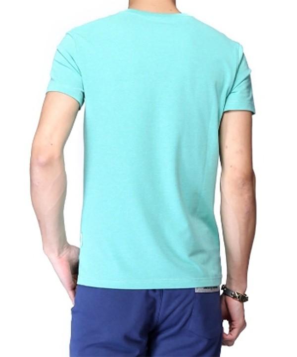 تیشرت مردانه سبزآبی با جیب تکه دوزی
