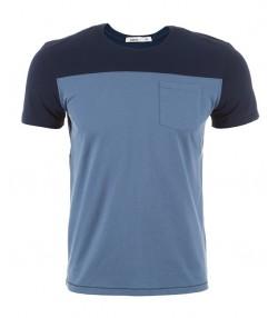 تی شرت دو رنگ نخی سرمه ای آبی مردانه بالنو