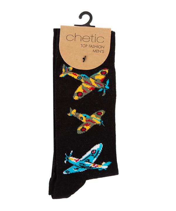 جوراب مردانه ساق بلند چتیک Chetic طرح هواپیما |