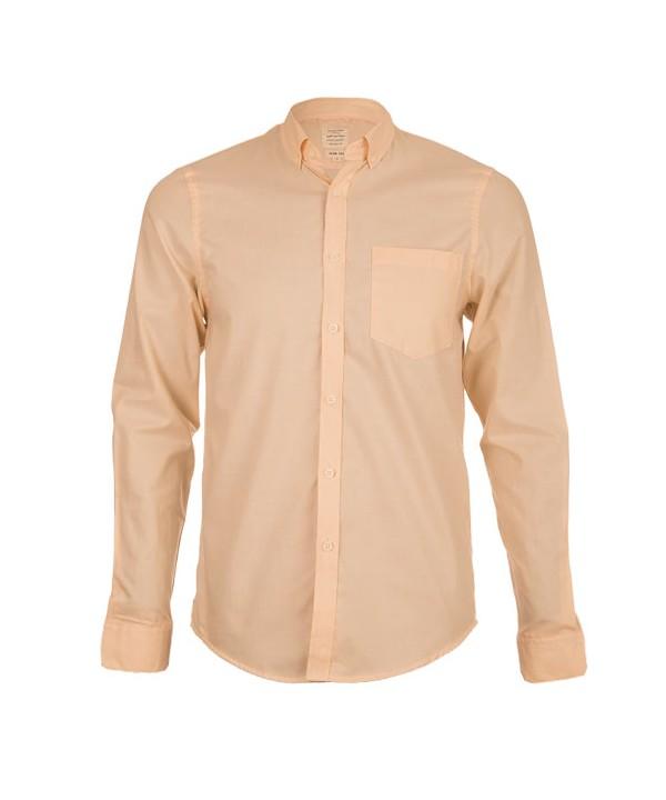 پیراهن مردانه آستین بلند نارنجی روشن