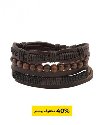 دستبند مردانه چرم و مهره جوتی جینز Jootijeans