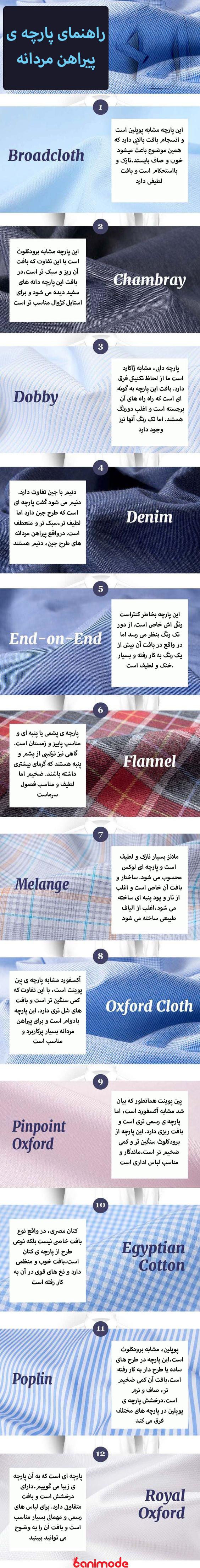 راهنمای پارچه ی پیراهن مردانه-بانی مد