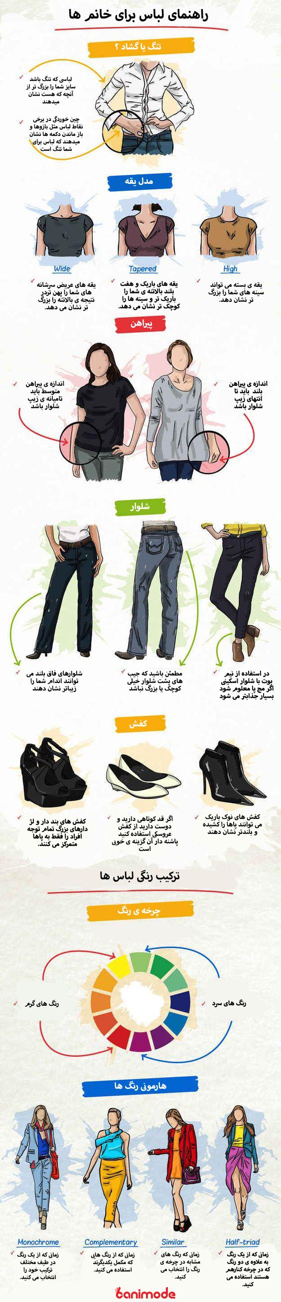 راهنمای لباس خانمها