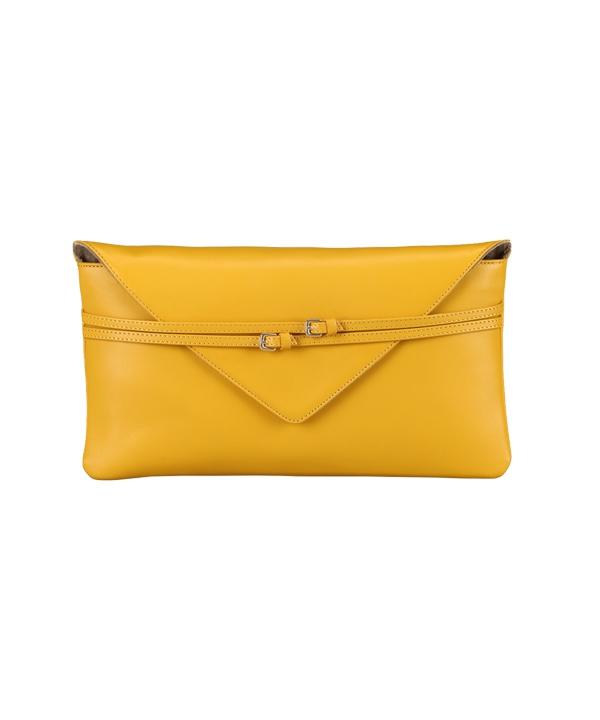 کیف کلاچ - دستی زنانه زرد چرم درسا مخصوص میهمانی