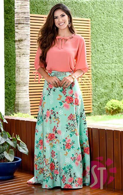 مدل دامن زنانه گلدار بلند