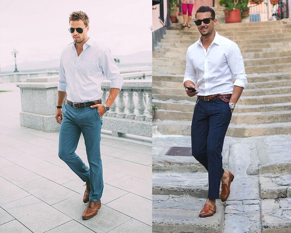 تیپ مردانه ساده با پیراهن سفید