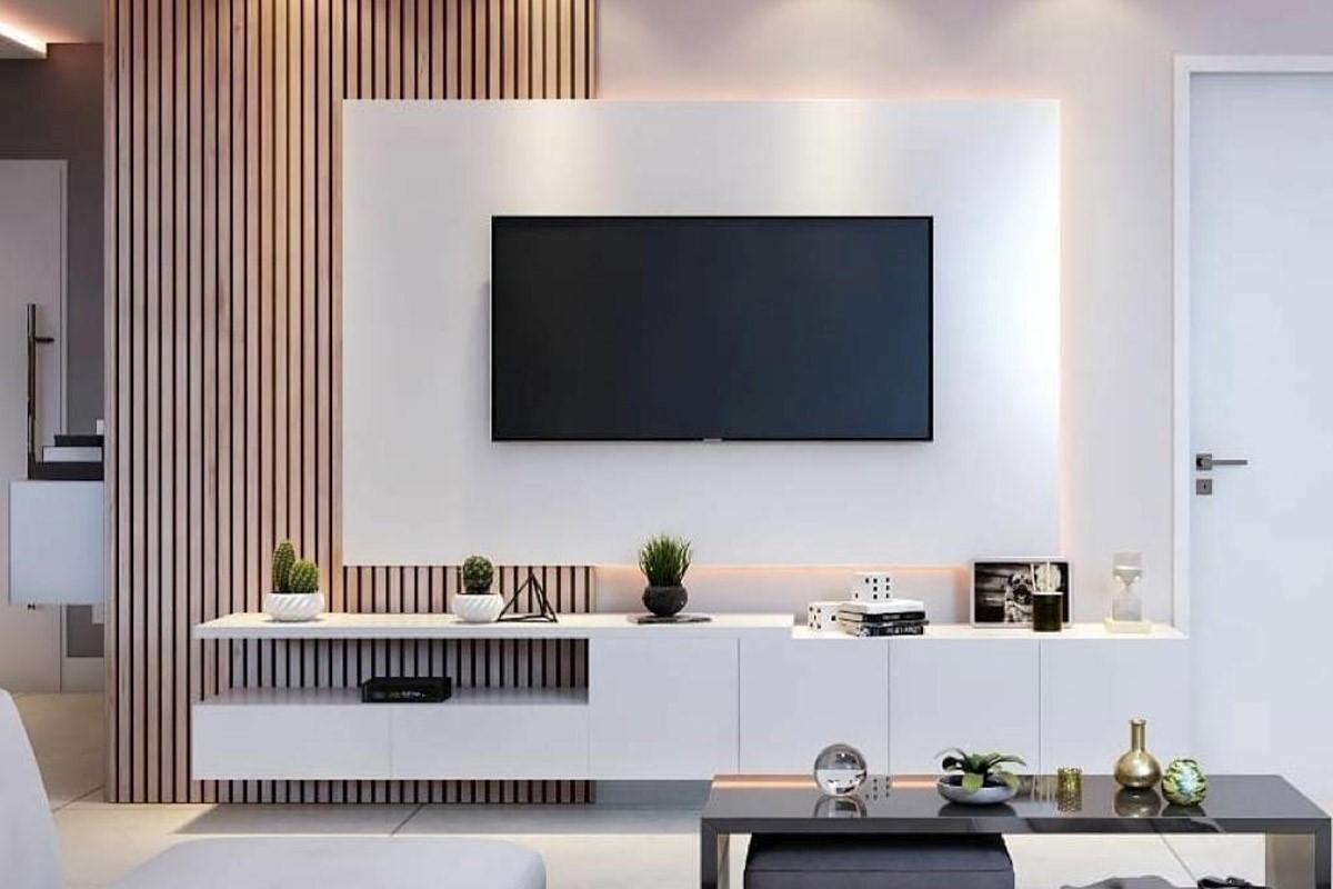 دیوار چوبی پشت تلویزیون
