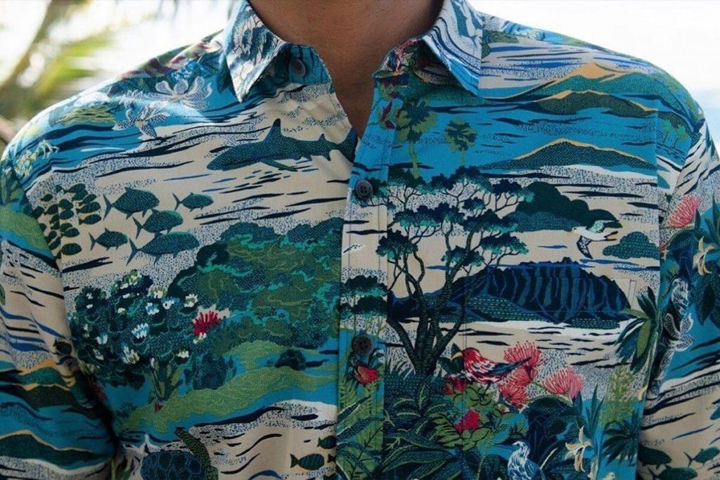 پیراهن هاوایی مردانه آستین بلند رنگارنگ