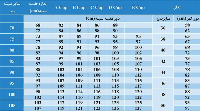 جدول سایز بندی سوتین