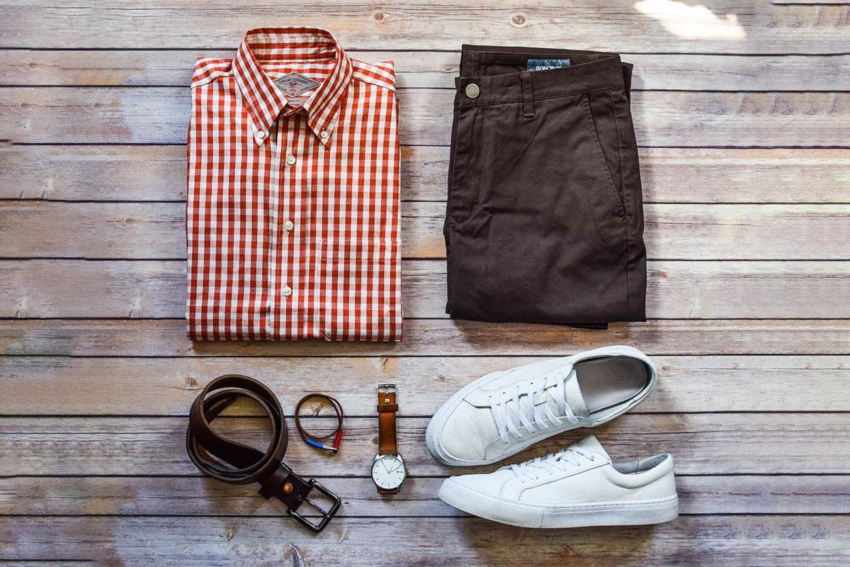 پیراهن مردانه چهارخانه قرمز سفید