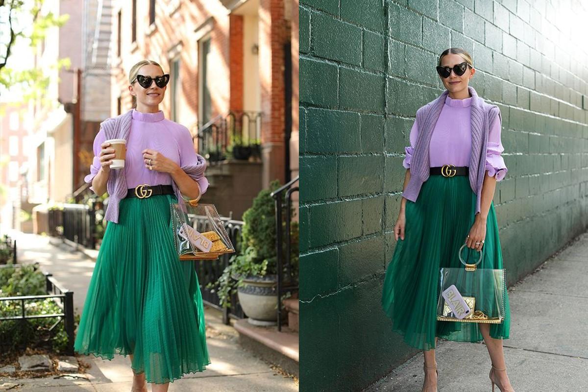 ترکیب لباس سبز با بنفش